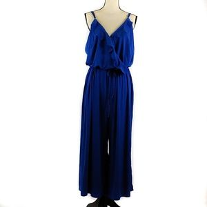 NY Collection Cropped Jumpsuit 2X Blue Sleeveless